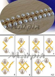 pearl bracelet tutorial. This would be beautiful made with crystals and wider.