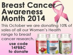 This October is Breast Cancer Awareness month, and we are donating 10% of sales from all products in our Women's Health Range to Breast Cancer Research, shop now at http://bit.ly/1t5d87C