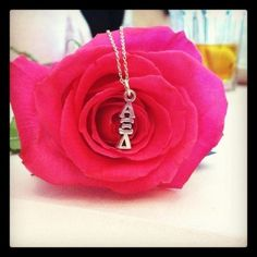 Alpha Xi Delta lavalier - needs a pink rose <3