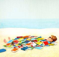 Beach Reading / Lectura en la playa (ilustración de Julia Breckenreid)