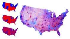 This is the real political map of the United States of America after the presidential election. A fascinating view, much different from the maps you saw that night, which showed an artificial, binary divide. But these maps demonstrate that there is not such a huge gap between rural and urban America.