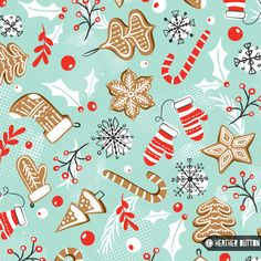 Gingerbread Dreams by Heather Dutton | © Hang Tight Studio #christmas #pattern #giftwrap #spoonflower