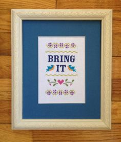 Funny counted cross stitch pattern: Bring It PDF instant download