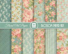 Digital Scrapbook Paper Floral Digital Paper Red Roses Digital