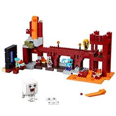 "Build your own Nether Fortress, featuring fortress bridge that can be set to 90 or 180 degrees and glow in the dark stone element. 571 pieces – For boys and girls ages 8 and older. Measures 7"" high, 15"" wide and 4"" deep"