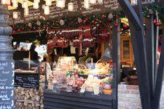 Hungarian smoked sausages and salamis Budapest Christmas Market, Smoked Sausages, Ham, Table Decorations, Hams