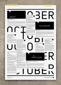 두 레이어가 겹쳐진 타이포 포스터 !!!! October - Studio Regia #GraphicDesign #Poster #Typography