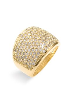 This gorgeous gold ring makes a sparking statement with its crystal covered band.