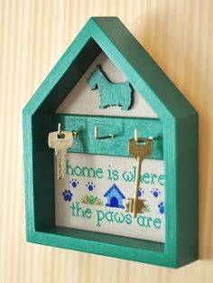 Key holder dog paws key hanger Home decor wall by TimeForStitch
