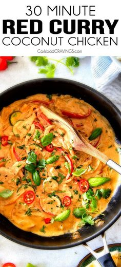 Red Curry Chicken and Vegetables - This less than 30 MINUTE Thai Red Curry Chicken tastes straight out of a restaurant! Its wonderfull -Thai Red Curry Chicken and Vegetables - This less than 30 MINUTE Thai Red Curry Chicken tastes straight out of a re. Red Curry Chicken, Thai Coconut Curry Chicken, Pineapple Curry Chicken, Thai Coconut Curry Recipe, Coconut Curry Chicken Soup, Shrimp Coconut Milk, Healthy Chicken Curry, Cooking With Coconut Milk, Coconut Rice