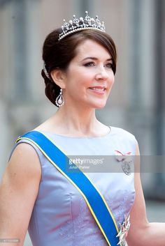 -June 13,2015-Crown Princess Mary of Denmark, arrives at The Royal Chapel, at The Royal Palace in Stockholm for The Wedding of Prince Carl Philip of Sweden and Sofia Hellqvist on June 13, 2015 in Stockholm, Sweden.