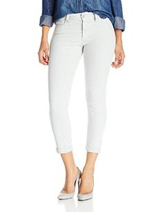NYDJ Womens Petite Nichelle Rolled Cuff Ankle Jeans in Railroad Stripe Denim Veronica 14 Petite >>> More info could be found at the image url.