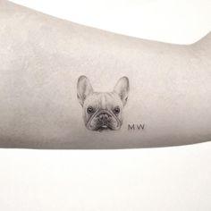 Tiny tattoo. black and grey tattoo. Pug tattoo by Sanghyuk Ko