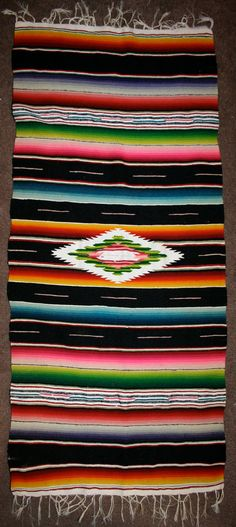 Vintage 40s 50s Mexican Saltillo Serape Rug   by AmbulantBazar, $49.00