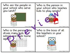 Free! Who works in your school cards....thanks to Carrie's Speech Corner