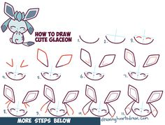 How to Draw Cute Kawaii Chibi Glaceon from Pokemon in Easy Step by Step Drawing Tutorial for Beginners