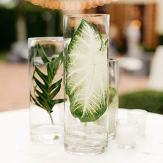 These candle holders are pure tropical chic.  Place individual leaves in the holders, fill them with water, and add a floating candle for a cost-friendly and unique décor piece your guests won't have seen before. Related: 70  Ideas for Beach Weddings