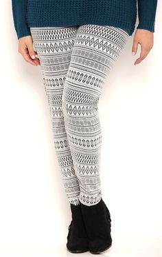 Plus Size Two Tone Tribal Print Leggings.... the blue ones are my favorite!