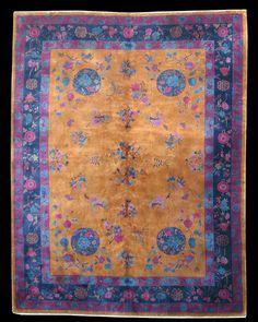 Antique Chinese Mandarin Art Deco Rug