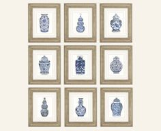 Set of 9 Blue & White Ginger Jar and Asian by paperwords11 on Etsy