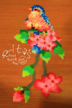 Floral + Bird Perler Beads by RitaPixel on deviantART