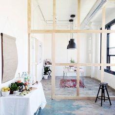 Cozy Room Divider for Small Apartments 55 Small Space Living, Tiny Living, Small Spaces, Living Spaces, Küchen Design, House Design, Halls, Small Room Design, Built In Desk