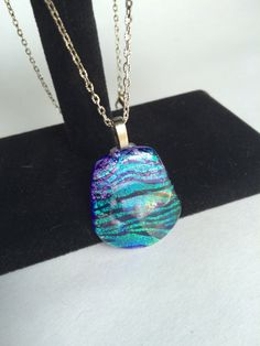 Blue Green Tiger Striped Dichroic Glass by starlingstudiosix