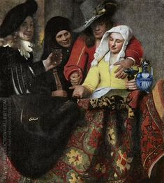 The Procuress 1656 By Johannes Vermeer. Replica Paintings on Canvas - Reproduction Gallery Johannes Vermeer, Vermeer Paintings, Famous Art Paintings, Popular Paintings, Oil Paintings, Dresden, Delft, Value In Art, Art History