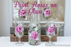 Recycle thrift store finds into beautiful gifts and/or art.  Hand paint beautiful roses on glass. Turn plain old glass into a statement.  Lovely roses make this…