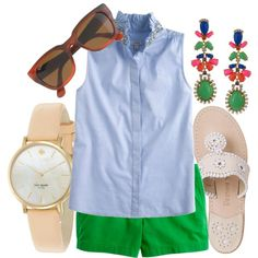 Love this outfit! Very ME! Love the green and neutral accessories! #summer #green #statement earrings