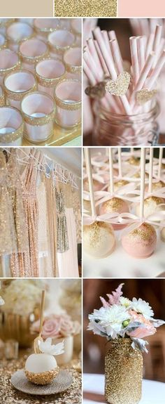 pink wedding color ideas with sparkly glitters