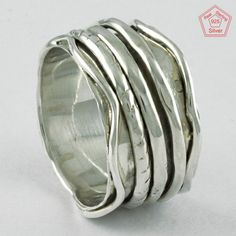 Wave Design 925 Sterling Silver Spinner Ring Jewelry RNSP5632 Sz. 7 US #SilvexImagesIndiaPvtLtd #Spinner #AllOccasions