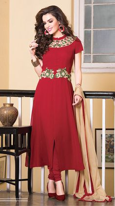 Trendy Dark Red Faux Georgette Ready Made Salwar Kameez