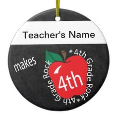 Teacher Makes 4th Grade Rock | Chalkboard Ceramic Ornament - stylish gifts unique cool diy customize