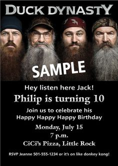 Duck Dynasty Personalized Birthday Party by ThreeWishesDesigns, $9.99