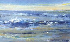 Peaceful beach painting large ocean storm by TheEscapeArtist