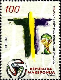 Stamp: Statue of Jesus Christ and the World Cup (Macedonia) (FIFA World Cup in Brazil) Mi:MK 703