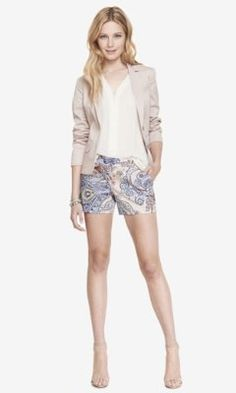 4 1/2 INCH PAISLEY PRINT STRETCH COTTON SHORTS from EXPRESS