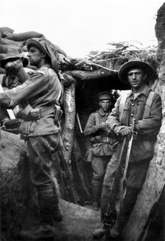 Infantry from the Australian 1st Brigade in a captured Turkish trench at Lone Pine, 6 August 1915, during the Battle of Gallipoli.