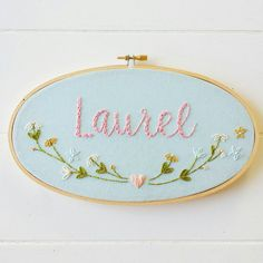 Baby Name Embroidery Hoop Art, Baby Shower Gift, Hand Stitched Art, Cotton Gift, Personalized Art, Embroidered Name by cinderandhoney on Etsy https://www.etsy.com/listing/240536368/baby-name-embroidery-hoop-art-baby