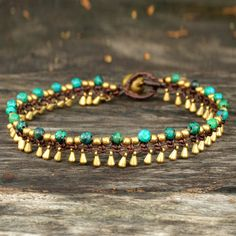 Artisan crafted brass anklet green serpentine Jewelry, 'Green Dancer' from Thailand Beaded Anklets, Beaded Jewelry, Handmade Jewelry, Handmade Wire, Shell Jewelry, Leather Jewelry, Boho Jewelry, Jewelry Shop, Ankle Bracelets