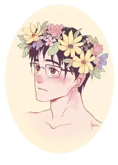 Just an art birb trying to make it in this world Yuri On Ice, Flower Crown Drawing, Yuri Katsuki, Ice Art, ユーリ!!! On Ice, Manga Characters, Boku No Hero Academy, Anime, In This World