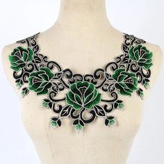 Cheap lace trim dress, Buy Quality lace trim leggings directly from China lace trim tank Suppliers: Green Craft Gold Thread Floral Sequin Embroidery Lace Patches Decorated Sew on Necklace Neckline Collar Applique Trims Hand Embroidery Dress, Hand Embroidery Designs, Lace Applique, Embroidery Applique, Embroidery Patterns, Sequin Embroidery, Lace Fabric, Fabric Flowers, Diy Bordados