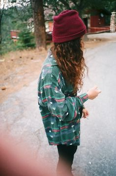 Grunge | Over-sized Green and Pink Plaid-Type Button-Up Shirt over Dark Pants.