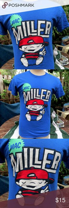 Mac Miller Chill Most Dope Concert Tour T-Shirt Awesome Mac Miller Chill concert shirt from his Most Dope tour. Vibrant blue, thick cotton by Gildan, with screenprint Mac Miller graphic of the Boy flipping up his thumb sign. It's a Men's size Small.  In very good preowned condition. Has been washed and worn only a handful of times, with nice, fresh graphics. No rips, stains or tears.  From a smoke-free home. I love to work deals, so if you're interested in other items of mine, feel free to…