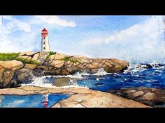 Rocky Shore Lighthouse in Watercolor LIVE 12:30pm ET - YouTube