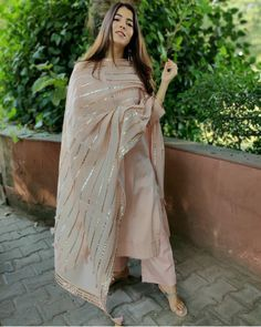 Shop online Nude Pink Gota Work Kurta Set - Set of Three Nude pink cotton silk kurta set with detailing on the sleeves and base of kurta. The set includes the cotton gota work dupatta. Designer Party Wear Dresses, Kurti Designs Party Wear, Indian Designer Outfits, Pakistani Dresses Casual, Pakistani Dress Design, Pakistani Clothing, Dress Indian Style, Indian Dresses, Abaya Style