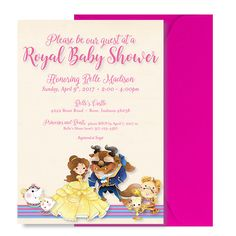 Beauty And The Beast Baby Shower Invitation   Beauty And The Beast Shower  Invitation   Cute