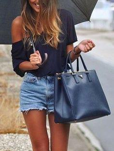 no to those weird shorts but YES to everything else. off the shoulder top, pretty hair, huge bag, tan skin lol