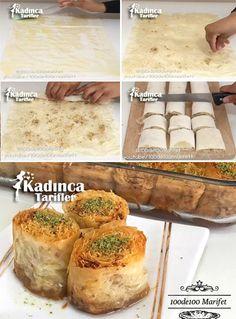 Baklava Yufkası İle Kadayıf Sarma Tarifi Ramadan, Turkish Kitchen, Dinner Recipes, Dessert Recipes, Mediterranean Recipes, Food Art, Deserts, Food And Drink, Yummy Food